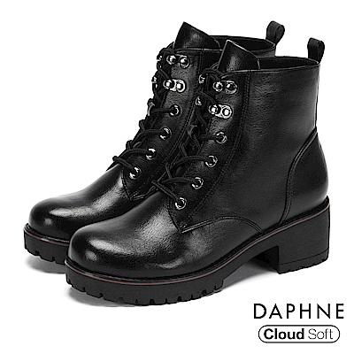 達芙妮DAPHNE 短靴-馬丁繫帶拉鍊粗跟短靴-黑