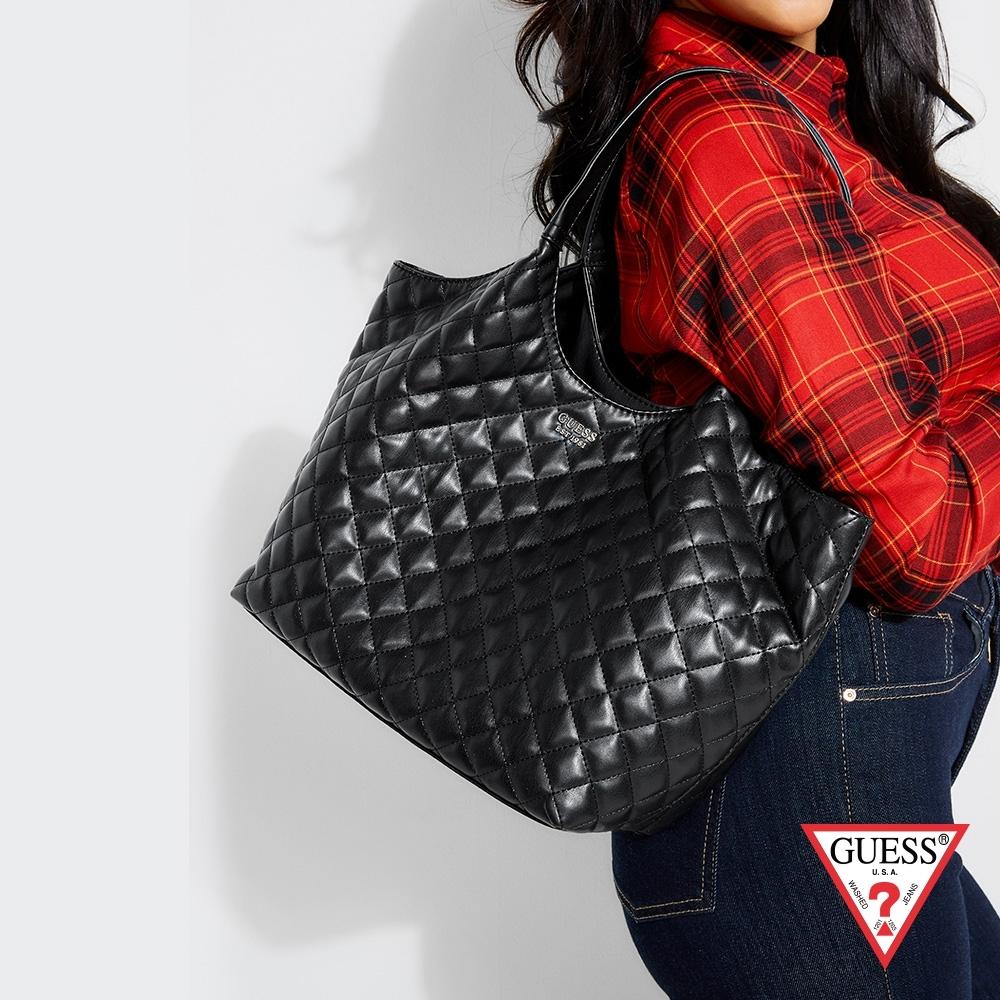 GUESS-女包-時尚菱格壓紋托特包-黑