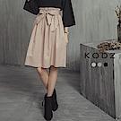 東京著衣-KODZ OL美人多色經典附綁帶中長裙-S.M.L(共三色)