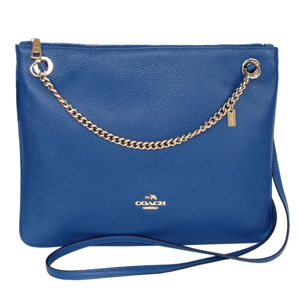 COACH藍色荔枝紋全皮微笑金屬鍊寬扁肩背/斜背包