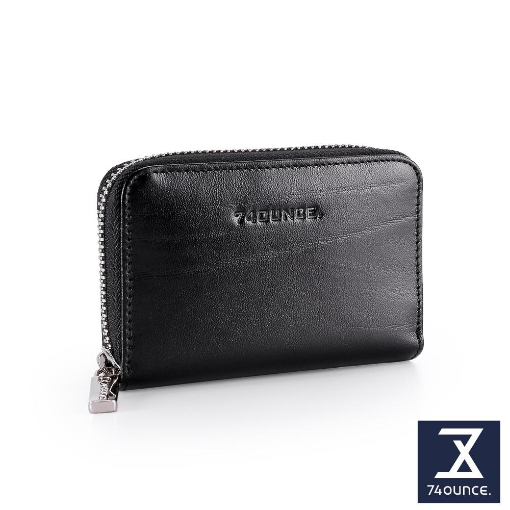 74盎司 Maroon馬鞍皮防RFID功能卡片包[N-589-MA-M]黑