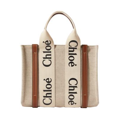 CHLOE Small Woody 小款 帆布 托特包 燕麥色 棕色