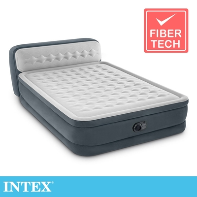 INTEX 豪華菱紋內建電動幫浦(fiber-tech)雙人加大充氣床-床頭檔片設計(64447)