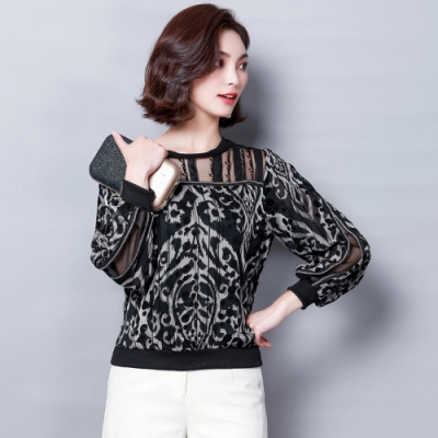 ALLK 豹紋雪紡衫上衣 黑色(尺寸M-XXL)