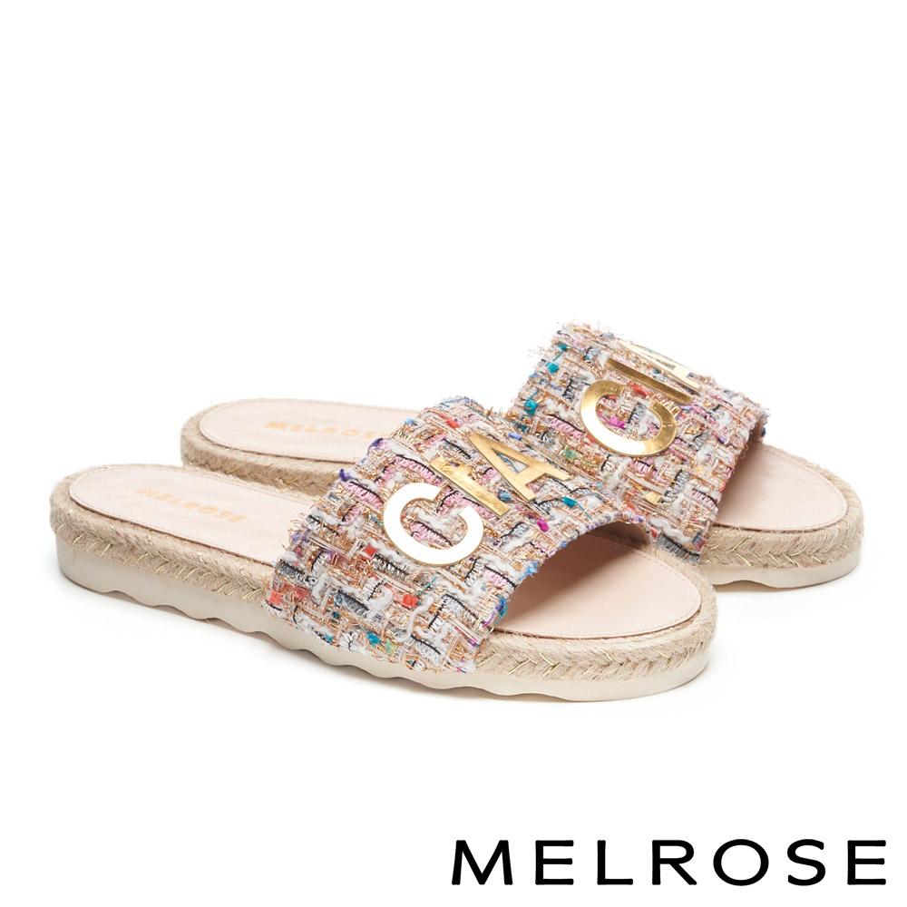 拖鞋 MELROSE 時尚金屬CIAO字樣毛呢厚底拖鞋-粉