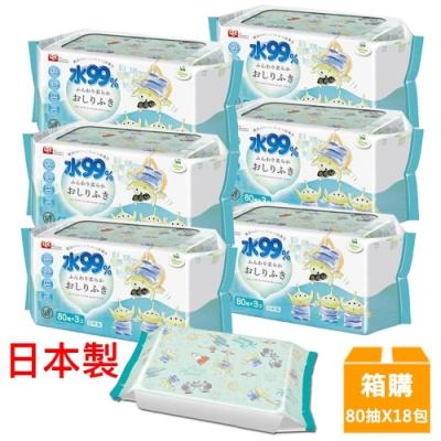 日本LEC 新款迪士尼三眼怪-純水99%濕紙巾箱購-80抽x18包入