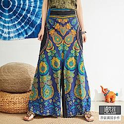 潘克拉 半鬆緊繡線條印花寬口褲-藍色