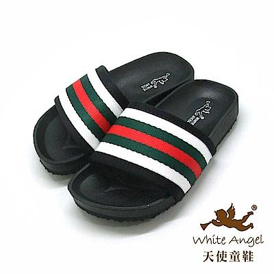 天使童鞋 法式條紋休閒拖鞋 J907-白