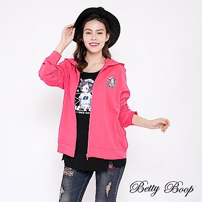 Betty Boop貝蒂 電繡貝蒂連帽柔棉外套(桃色)