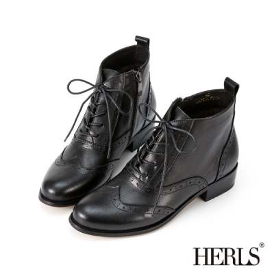 HERLS短靴-歐洲進口牛皮翼紋雕花沖孔牛津靴綁帶短靴-黑色