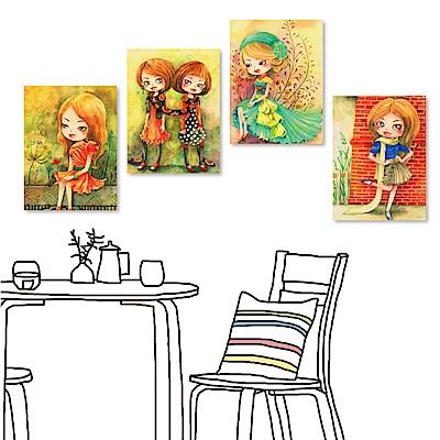 橙品油畫布 四聯式插畫風無框畫-女孩系列1 30x40cm