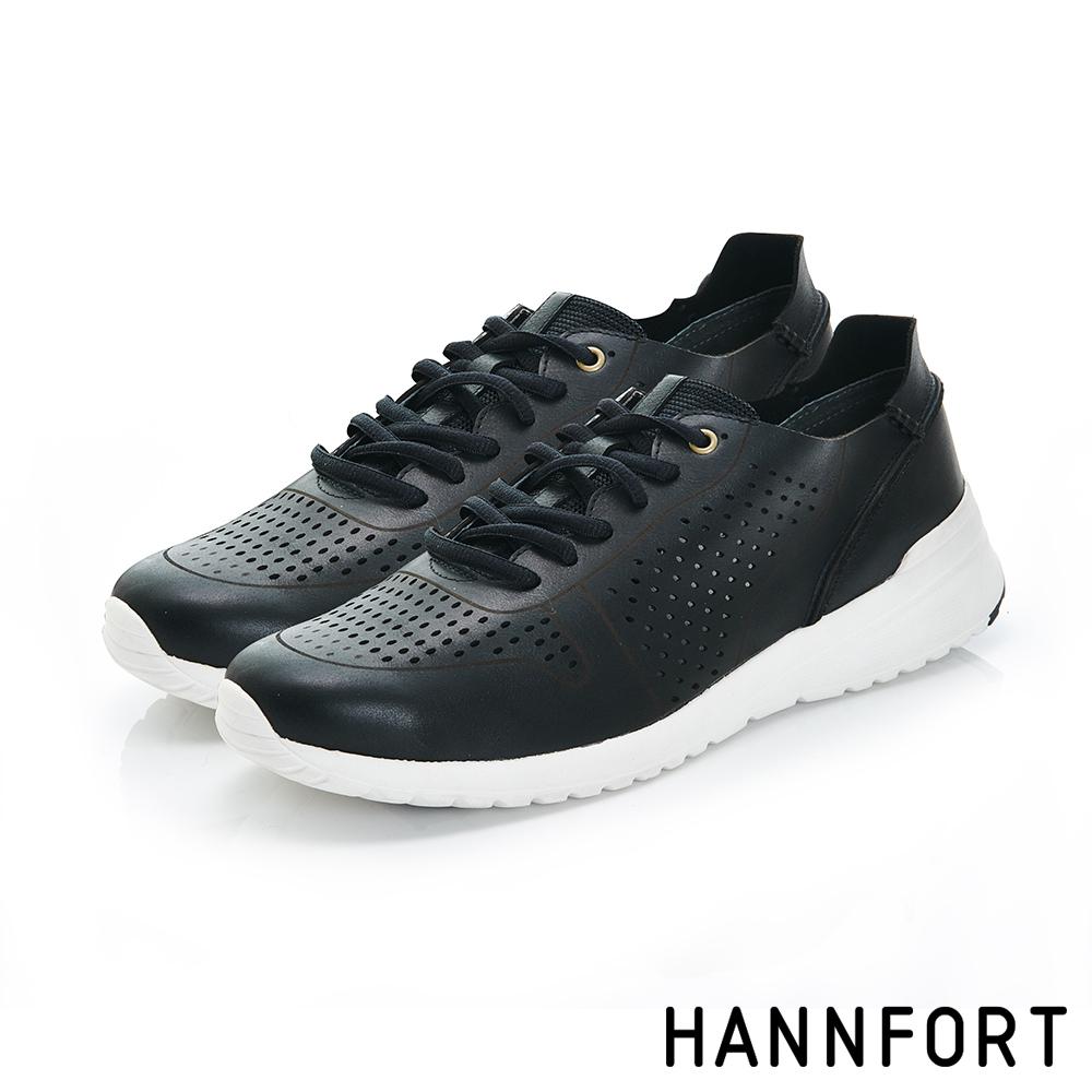HANNFORT RS8真皮洞洞透氣休閒鞋-質感灰 @ Y!購物