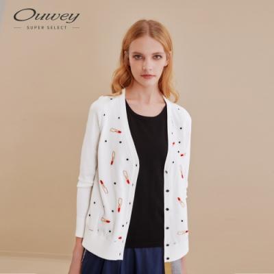 OUWEY歐薇 可愛唇膏圖案刺繡假兩件針織上衣(白)