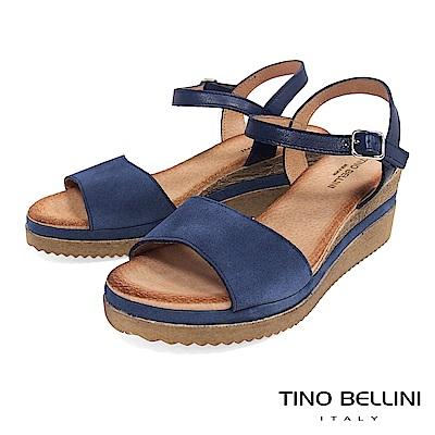Tino Bellini 西班牙進口牛皮MIX木紋夾心楔型繫踝涼鞋 _ 藍