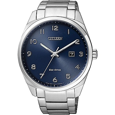 CITIZEN Eco-Drive 光動能經典簡約手錶-藍x銀/42mm