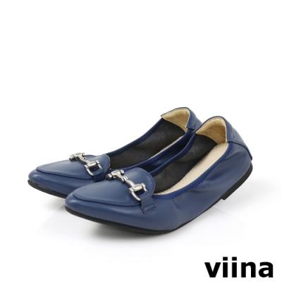 viina 尖頭馬銜釦摺疊娃娃鞋-藍灰