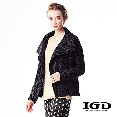 IGD英格麗 硬挺菱形格紋翻領外套-黑色