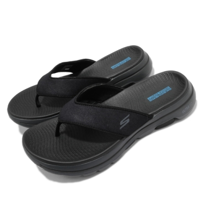 Skechers 拖鞋 Go Walk 5-Varson 男鞋 夾腳拖 穩定 支撐 避震 緩衝 柔軟 黑 灰 229005BKGY