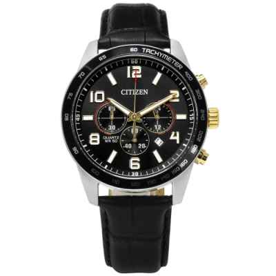 CITIZEN 限量 三眼計時 礦石強化玻璃 日期 日本機芯 牛皮手錶-黑色/44mm