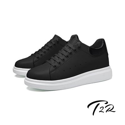 T2R-正韓空運-AIR-造型真皮透氣綁帶休閒增高男鞋-增高約8CM-黑