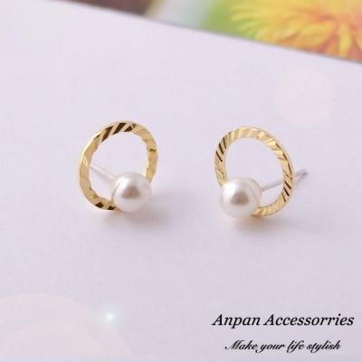 【Anpan 愛扮】韓東大門REINA復古圓框小珍珠925銀針耳釘耳環