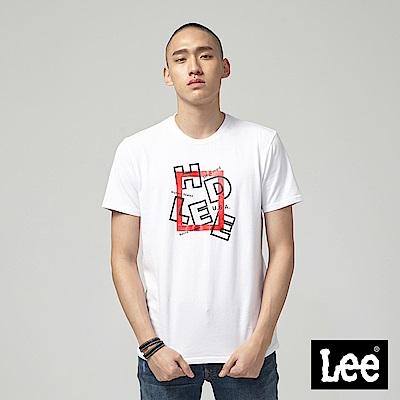 Lee HD LEE 紅框短袖圓領T恤-白