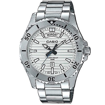 CASIO 經典再現仿黑水鬼造型設計不鏽鋼腕錶(MTD-1087D-7)白面/51mm