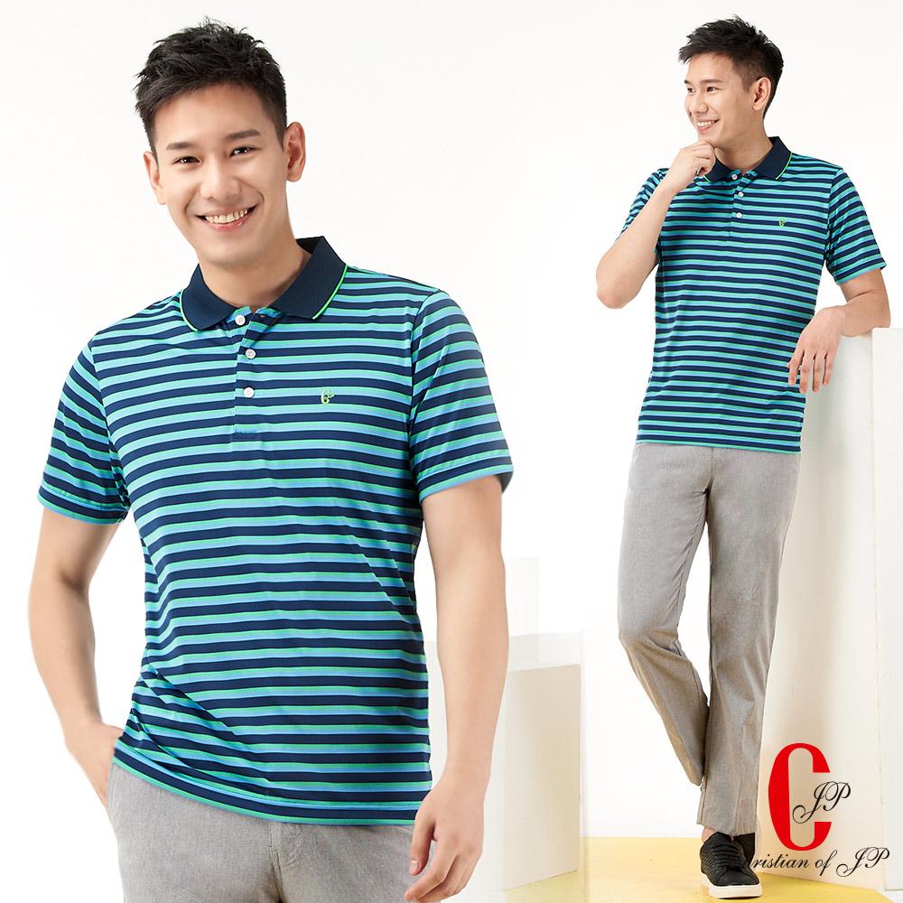 Christian 運動元素系列彈性纖維POLO衫_藍條(PS776-55) @ Y!購物