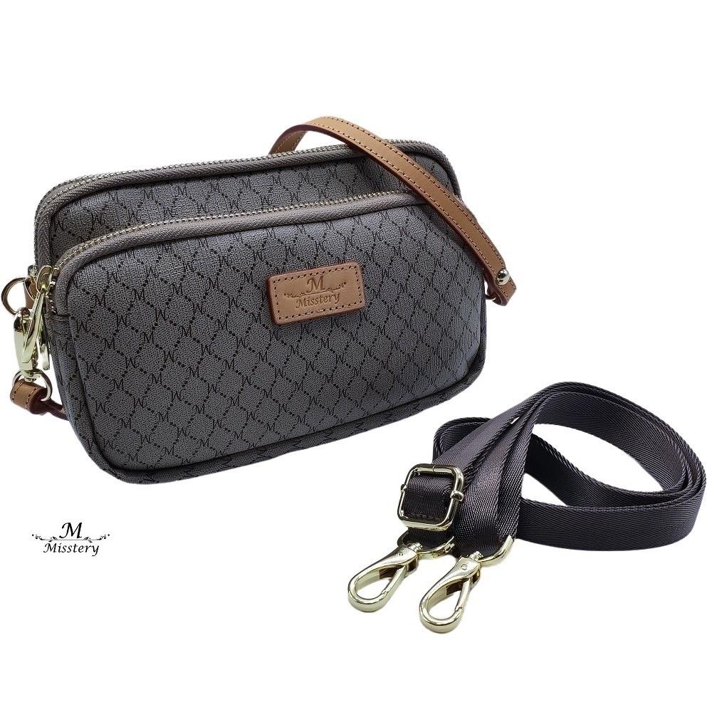 【Misstery】手機包植鞣皮革經典膠料斜背包/側背包/小提包