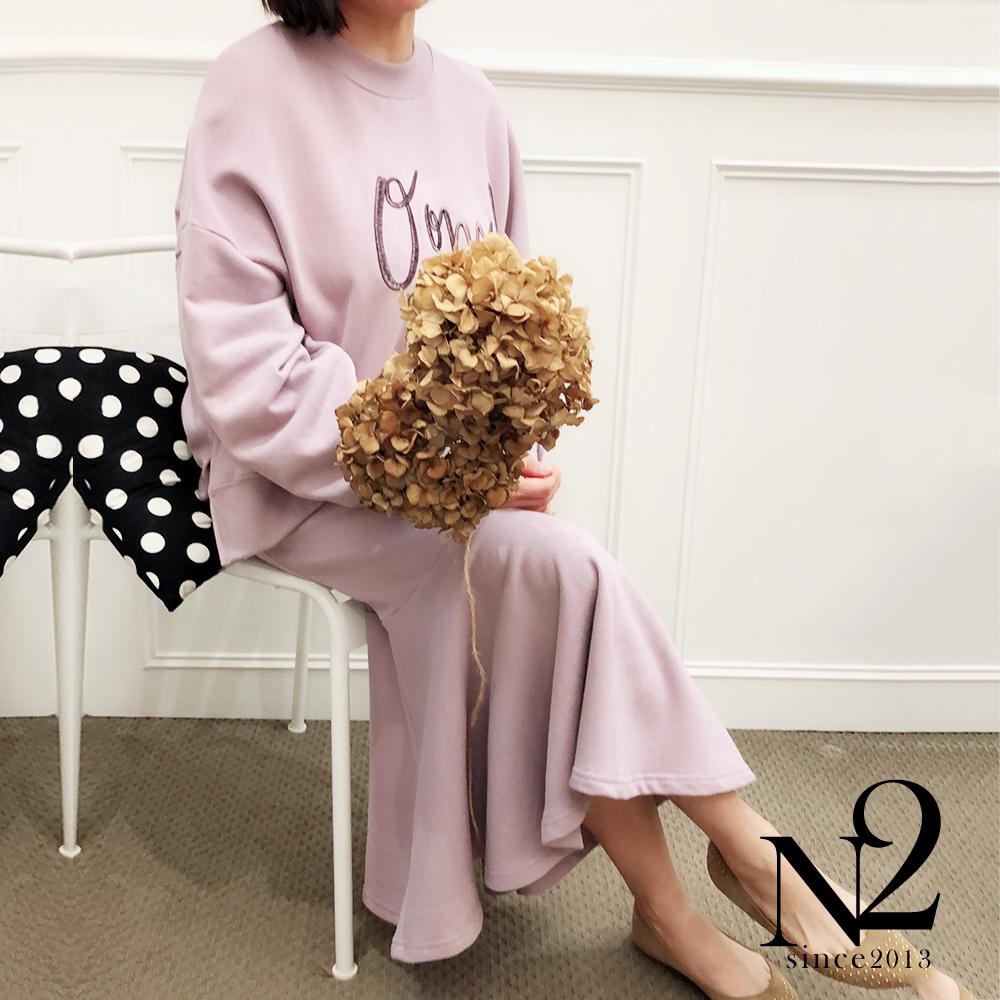 長裙 正韓棉質貼臀下擺荷葉A字長裙(粉紫) N2