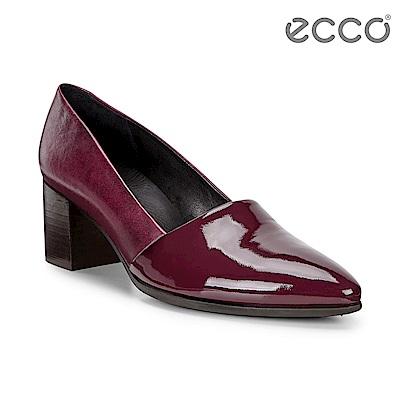 ECCO SHAPE 45 POINTY 漆皮拼接高跟鞋 女-深紅