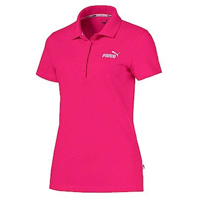 PUMA-女性基本系列素色短袖POLO衫-甜菜紅-亞規
