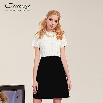 OUWEY歐薇 黑白簡約蕾絲縫珠洋裝(白)