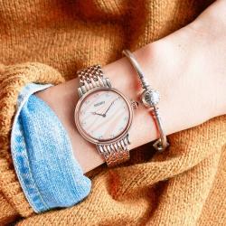SEIKO 精工 愛情海 施華洛世奇 珍珠母貝 不鏽鋼手錶-白粉x玫瑰金框/29mm