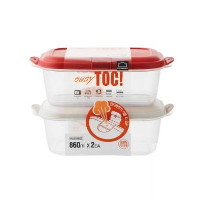 樂扣樂扣 EZ TOC微波PP保鮮盒/蒸氣孔/860ML/2件組(上蓋:紅+米白)(快)