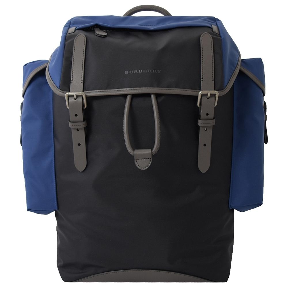 BURBERRY 簡約款拼色尼龍多口袋後背包(黑/藍)