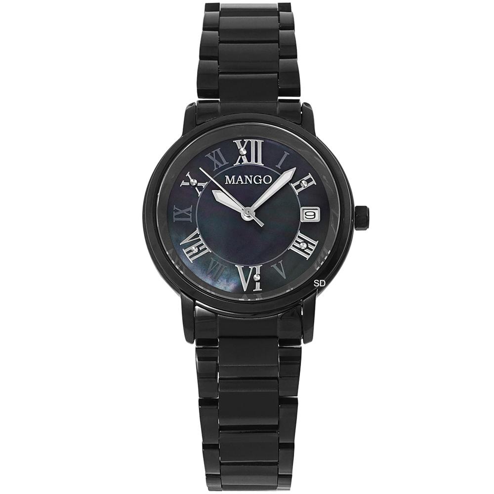 MANGO 閃耀晶鑽時尚手錶-珍珠貝X黑/31mm