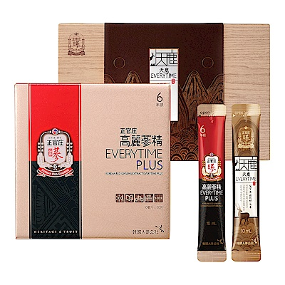 【正官庄】高麗蔘精EVERYTIME PLUS (10ml*30入) + 【正官庄】天鹿EVERYTIME(10ml*30包)