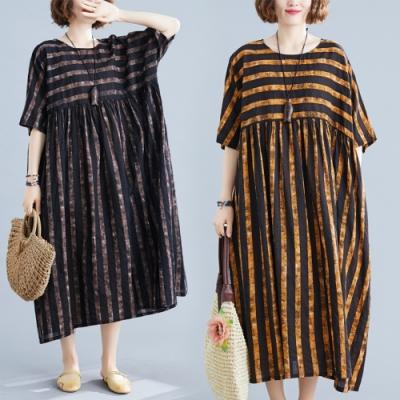 文藝格調拚色條紋寬鬆連衣裙棉麻洋裝F(共三色)-Keer