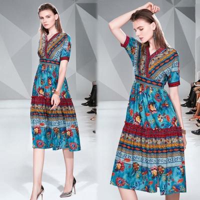 【KEITH-WILL】破盤價明星同款波西米亞印花洋裝