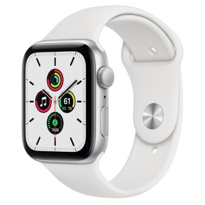 Apple Watch SE (GPS) 44mm 銀色鋁金屬錶殼+白色錶帶(MYDQ2TA/A)