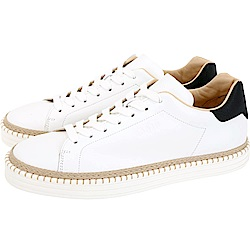 HOGAN R260 草編細節拼接繫帶滑板鞋(男鞋/白色)