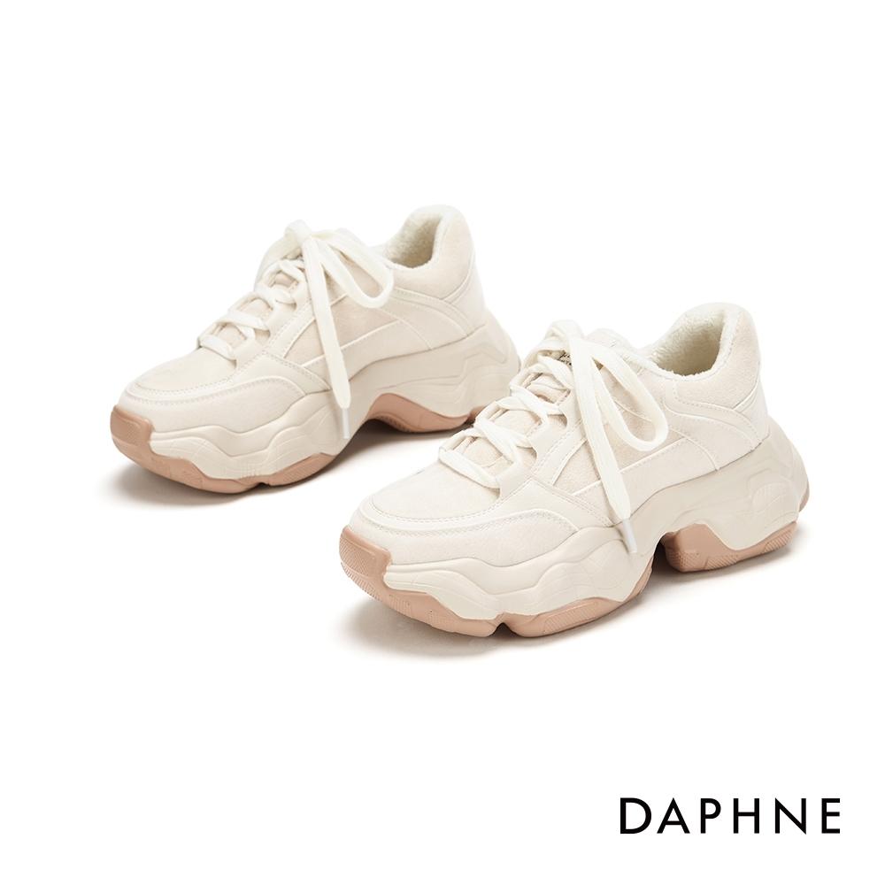 達芙妮DAPHNE  休閒鞋-拼接鬆糕厚底老爹鞋-米白