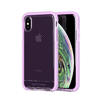 Tech 21英國超衝擊EVO CHECK iPhone X/Xs防撞軟質格紋保護殼-透紫