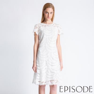 EPISODE - 透膚蕾絲設計短袖洋裝(白)