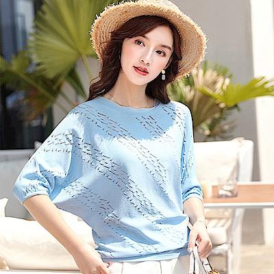 初色  韓版鏤空春夏款針織衫-淺藍色-(M-2XL可選)
