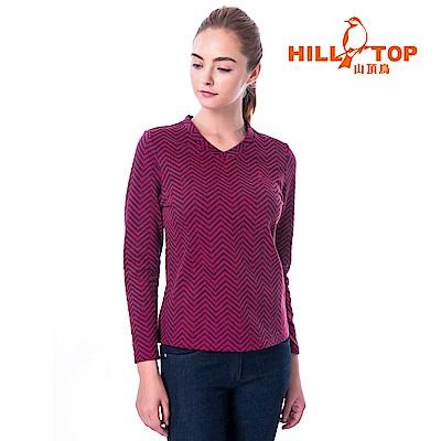 【hilltop山頂鳥】女款保暖緹花刷毛上衣H51FH9擬粉色