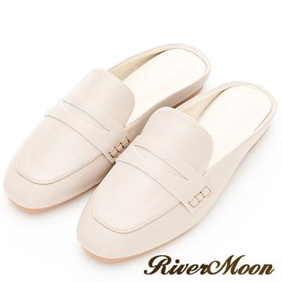 River&Moon大尺碼-歐美簡約方頭穆勒鞋-杏