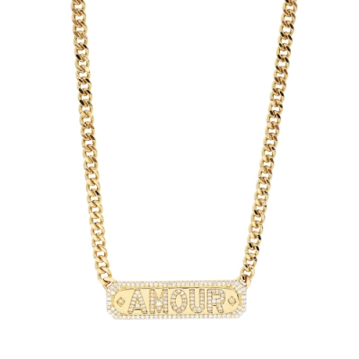 apm MONACO法國精品珠寶 閃耀金色Amour鑲鋯項鍊