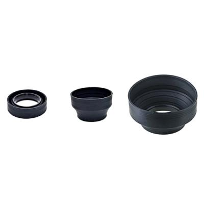 JJC三折三用遮光罩螺牙40.5mm遮光罩LS-40.5S(口徑:40.5mm橡膠材質,可三段伸縮)lens hood